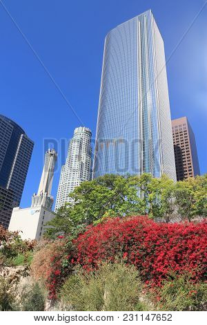 Los Angeles, Usa - April 5, 2014: Two California Plaza Skyscraper In Los Angeles. The Building Is 22