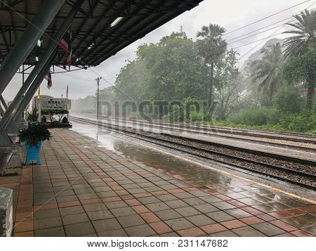 Train Station With Roof On Rainy Day In Phatthalung Thailand