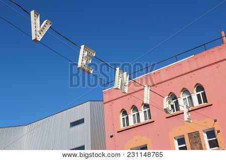 Venice, United States - April 6, 2014: Famous Sign At Venice Beach, California. Venice Beach Is One