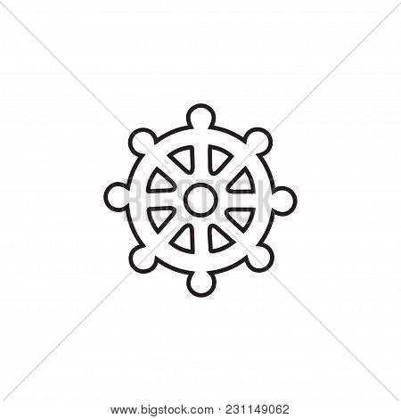 Wheel Of Dharma Licon Linear Of Buddhism And Hinduism Flat Icon For Apps And Websites.