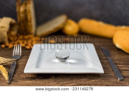 Stethoscope And Glass Globe On Plate With Fork, Menu In Famous Hotels. International Cuisine Is Cuis