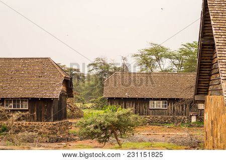 Old Abandoned Lodge In The Savannah Of Amboseli Park In Kenya