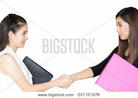 Businesswoman Has Shaking Hands For Sign Approval Together Isolated On White Background.