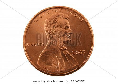 A Close Up Isolated Us Penny Image
