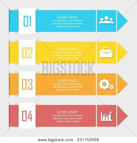 Business Infographics With Arrow. Template With 4 Elements, Steps, Options, Parts Or Processes