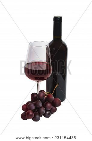 Bottle Of Red Wine, Glass Of Red Wine And Purple Grape Isolated On White Background