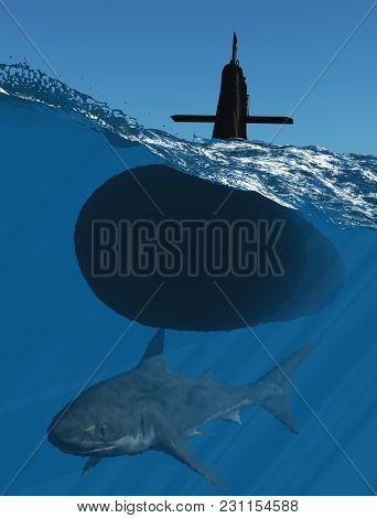 Submarine and and shark under water. ,3d render