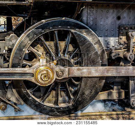 Vintage Steam Engine Locomotive Black Drive Wheel
