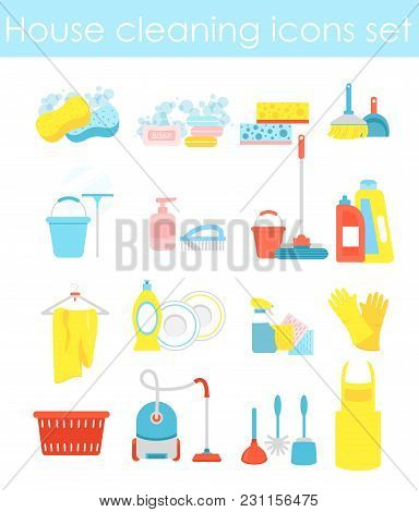 Vector Illustration Of House Cleaning Icons Set, Colorful And Bright Collection Of Elements For Clea