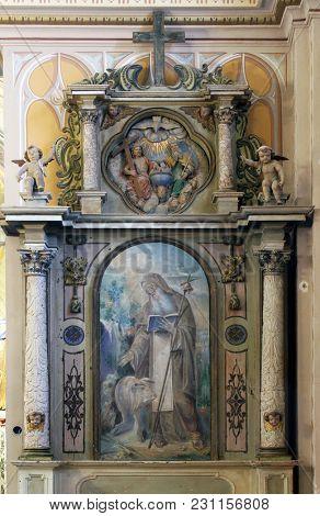 OZALJ, CROATIA - JULY 02: The altar of St. Anthony the hermit in Saints Vitus church in Ozalj, Croatia on July 02, 2016.