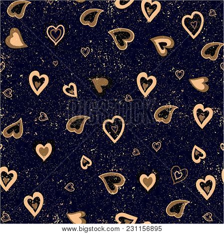 Hand Drawn Vector Seamless Background Pattern With Hearts. Gold And Black Backdrop For Wrapping Pape