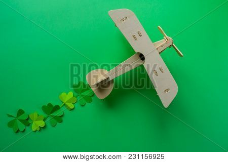 St. Patrick's Day, Plane Luck Shamrock On A Green Background