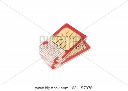 Two Sim Cards Isolated On White Background