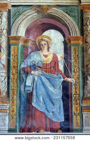 VERONA, ITALY - MAY 27: Fresco in the Cathedral dedicated to the Blessed Virgin Mary under the designation Santa Maria Matricolare in Verona, Italy, on May 27, 2017.