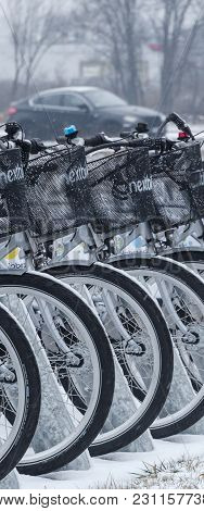 Kolobrzeg, West Pomeranian / Poland : City Bikes In The Dock Are Waiting For Users