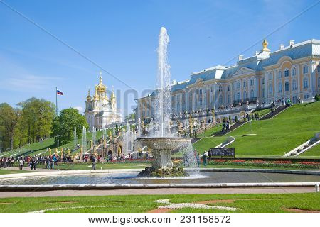 Saint Petersburg, Russia - May 30, 2017: Sunny May Day At The Great Peterhof Palace