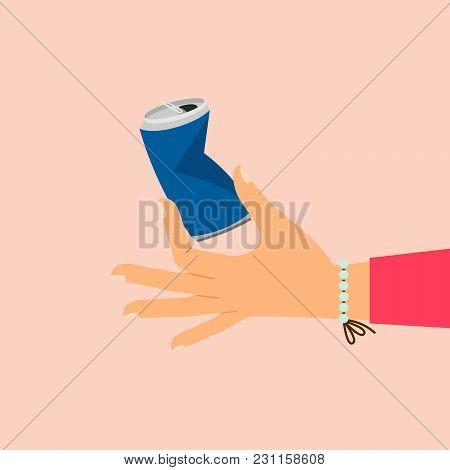 Woman Hand Holding Broken Aluminum Can Vector Illustration