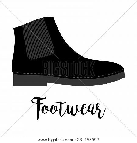 Shoes With Text Footwear Isolated On The White Background, Vector Illustration
