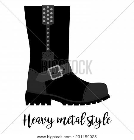 Shoes With Text Heavy Metal Style Isolated On The White Background, Vector Illustration