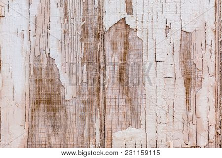 Close Up Shot Weathered Grunge Old Textured Wood Background, Distressed Cracked Paint Surface.