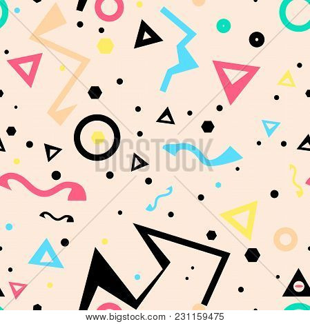 80's Pattern, Geometric Seamless Pattern,colorful,retro Pattern In Vector.
