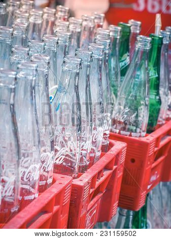 Bangkok, Thailand - February 26: Empty Recycle Bottles Of Coca Cola In Red Plastic Box On February 2