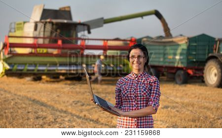 Farmer Girl At Wheat Harvest