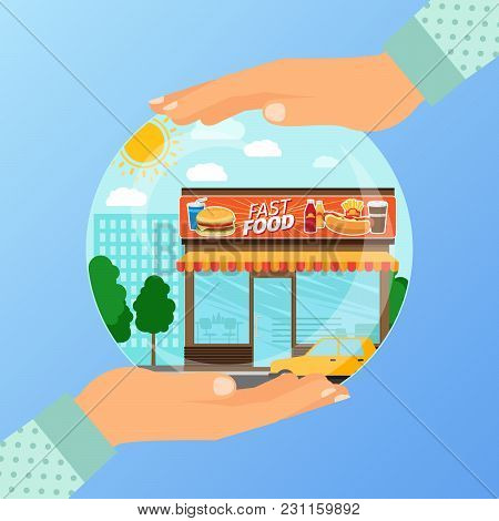 Business Concept For Opening The Institution Of Fast Food. A Woman Is Holding A Glass Ball With His