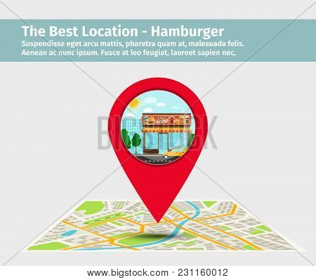 The Best Location Hamburger. Point On The Map With Building Illustration, Vector