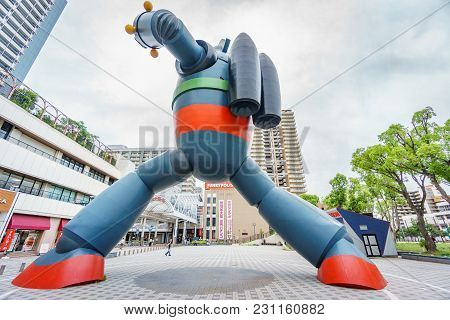 Kobe, Japan - June 5, 2015 : Tetsujin-28-go Statue Was Built To Commemorate The 15th Anniversary Of