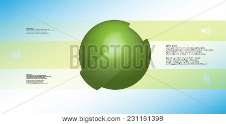 3d Illustration Infographic Template With Motif Of Askew Sliced Ball To Three Green Parts Which Are