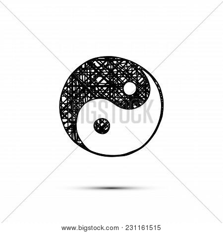 Vector Handdrawn Yin-yang Symbol Isolated On White