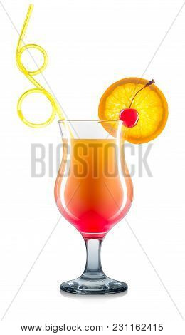 Mimosa Cocktail Or Mocktail In Classical Glass With Cherry, Orange And Yellow Straw Isolated On Whit