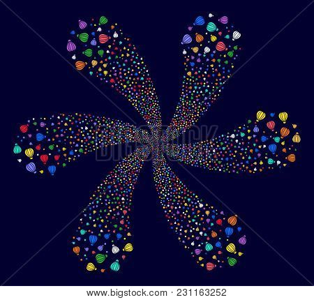 Multi Colored Aerostat Exploding Twist On A Dark Background. Psychedelic Vector Cycle Done From Rand