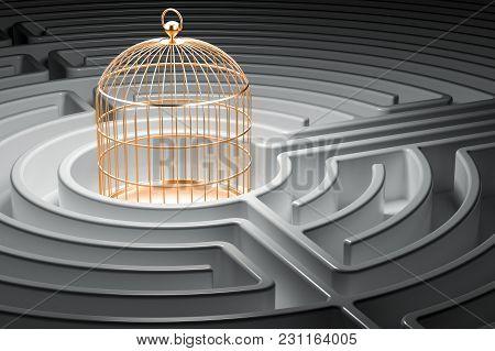 Golden Bird Cage Inside Labyrinth Maze. 3d Rendering
