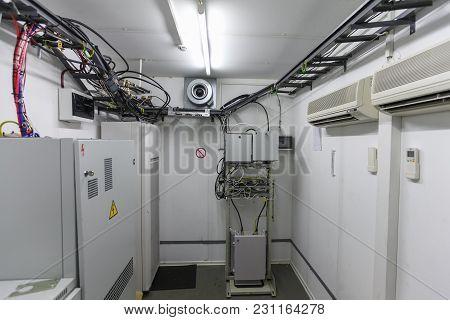 Interior Of  Modern Basic Station Of Communications Equipment