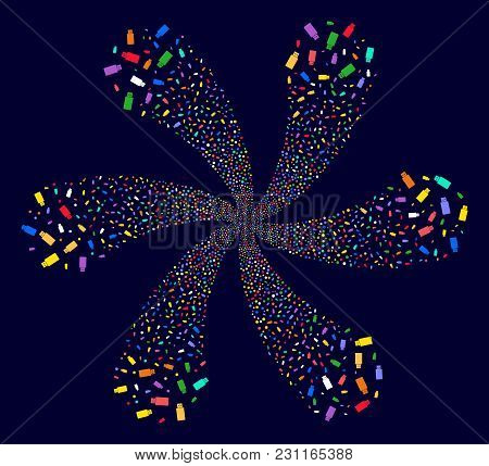 Colorful Usb Flash Drive Curl Flower With 6 Petals On A Dark Background. Impressive Vector Cluster C