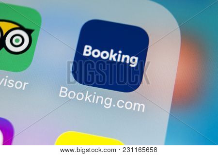 Sankt-petersburg, Russia, March 14, 2018: Booking.com Application Icon On Apple Iphone X Screen Clos