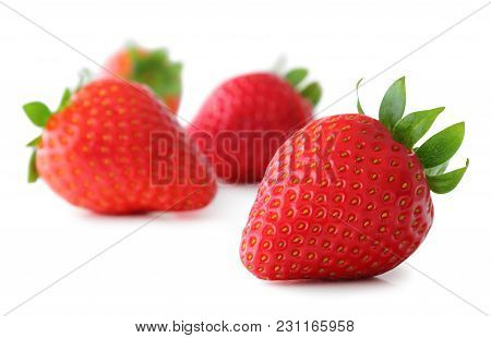 Strawberries (fragaria, Rosoideae) Isolated On White Background, Including Clipping Path Only For Th