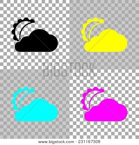 Moon And Cloud. Simple Silhouette. Colored Set Of Cmyk Icons On Transparent Background