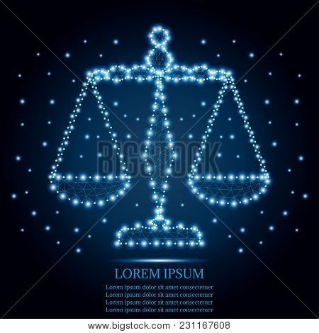 Justice Scales Or Zodiac Sign Of Libra Style Design. Polygonal Low Poly  Illustration With Triangles