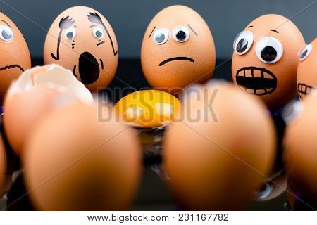Fun Concept: Raw Eggs With Googly Eyes And Drawn Features Are In Shock And Sad As They Witness Anoth