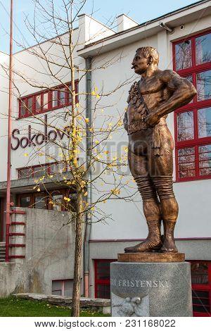 Litovel, Czech Republic - November 4, 2017 - Statue Of World-famous Czech Wrestler Gustav Fristensky