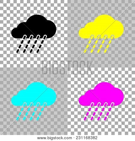 Rain, Weather Icon. Colored Set Of Cmyk Icons On Transparent Background