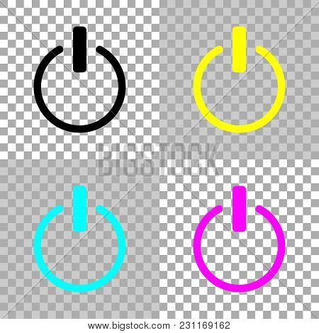 Shut Down, Power. Colored Set Of Cmyk Icons On Transparent Background