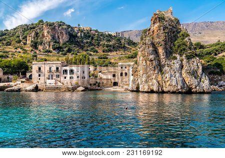 View Of Scopello Village At Zingaro Nature Reserve, Sicily, Italy