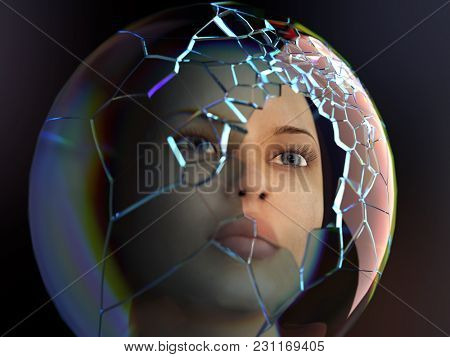 woman in a broken space suit, 3d illustration