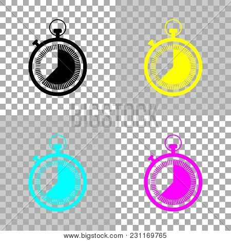 Stopwatch. Simple Icon. Colored Set Of Cmyk Icons On Transparent Background