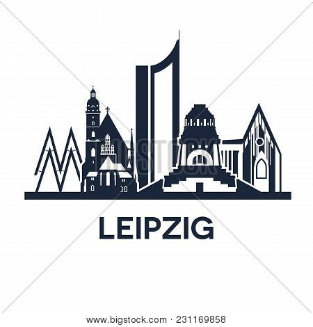 Abstract Skyline Of City Leipzig In Germany, Detailed Version, Vector Illustration