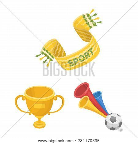 Fan And Attributes Cartoon Icons In Set Collection For Design. Sports Fan Vector Symbol Stock  Illus